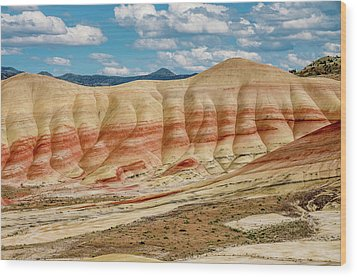 Painted Hills And Afternoon Sky Wood Print by Greg Nyquist