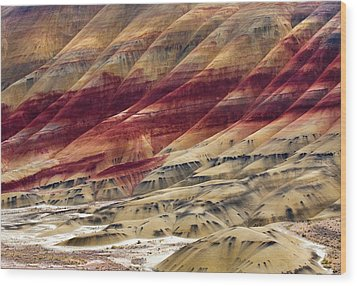 Painted Hills Contour Wood Print by Mike  Dawson