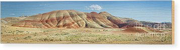 Painted Hills Pano 1 Wood Print by Jerry Fornarotto