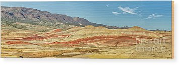 Painted Hills Pano 2 Wood Print by Jerry Fornarotto