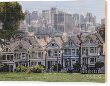 Painted Ladies Of Alamo Square Wood Print
