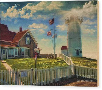 Painted Nobska Lighthouse On Cape Cod Wood Print by Gina Cormier