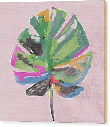 Wood Print featuring the mixed media Painted Palm Leaf 2- Art By Linda Woods by Linda Woods
