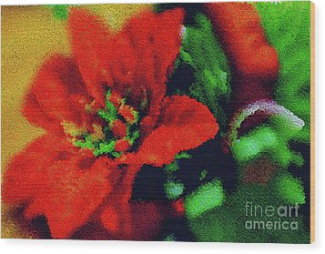 Painted Poinsettia Wood Print by Sandy Moulder