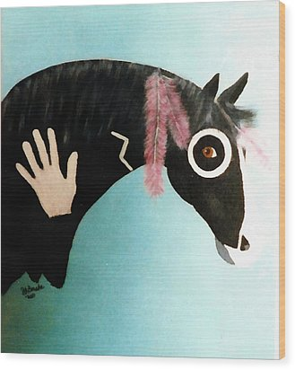 Painted Pony With Feather Wood Print