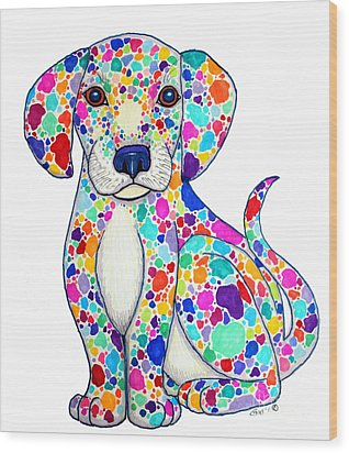 Painted Puppy Wood Print by Nick Gustafson