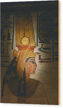 Painted Relief, Nefertari Tomb, Valley Wood Print by Kenneth Garrett
