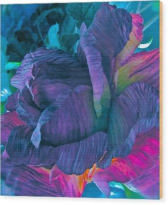Painted Silk Wood Print by Gwyn Newcombe