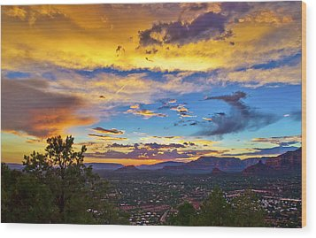 Painted Sky's Over Sedona Wood Print