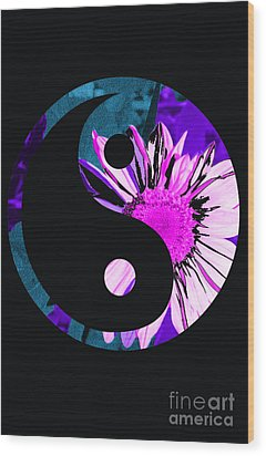Painted Sunflower Yin Yang Wood Print by Sonya Chalmers
