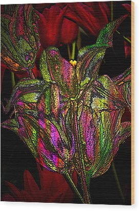 Wood Print featuring the photograph Painted Tulips by Irma BACKELANT GALLERIES