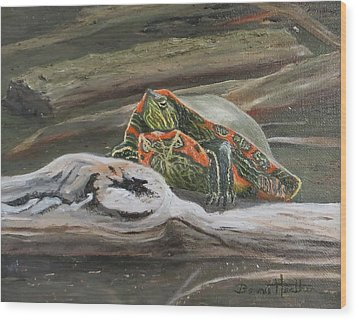 Painted Turtle Wood Print