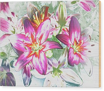 Painterly Pink Tiger Lilies Wood Print