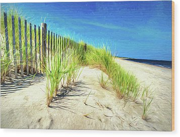 Wood Print featuring the photograph Painterly  Waterfront Dune Grass by Gary Slawsky