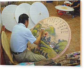 Wood Print featuring the photograph Painting Chinese Oil-paper Umbrellas by Yali Shi
