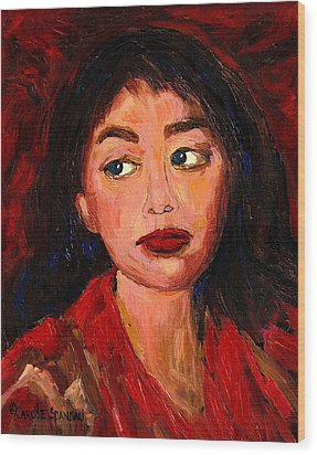 Painting Of A Dark Haired Girl Commissioned Art Wood Print by Carole Spandau