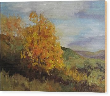 Painting Of A Golden Tree Wood Print by Cheri Wollenberg