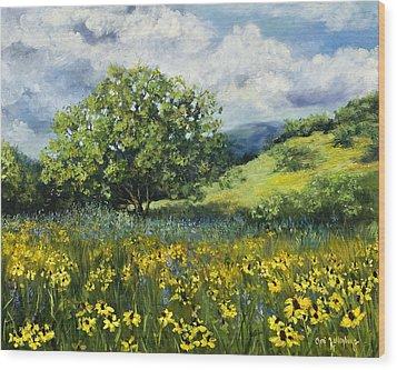Painting Of Black-eyed Susans In Oklahoma Landscape Wood Print by Cheri Wollenberg