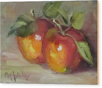 Painting Of Delicious Apples Wood Print by Cheri Wollenberg