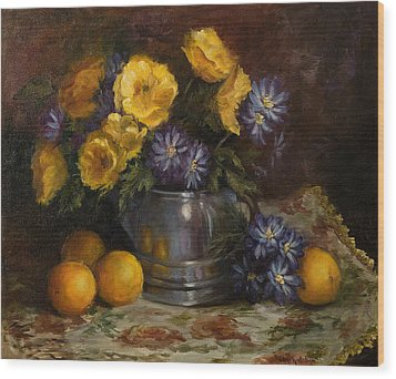 Painting Of Oranges And Poppies Wood Print by Cheri Wollenberg