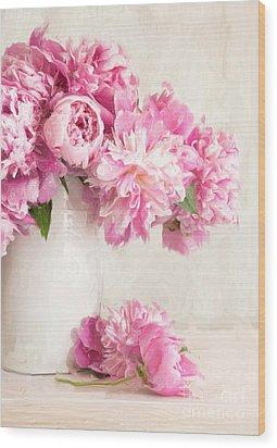 Painting Of Pink Peonies In Vase/digital Painting   Wood Print by Sandra Cunningham