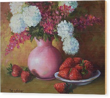 Painting Of Pink Pitcher And Strawberries Wood Print by Cheri Wollenberg