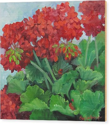 Painting Of Red Geraniums Wood Print by Cheri Wollenberg