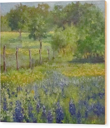 Painting Of Texas Bluebonnets Wood Print by Cheri Wollenberg