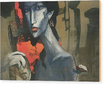 Painting Of The Lady _ 1 Wood Print by Behzad Sohrabi