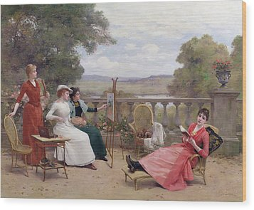 Painting On The Terrace Wood Print by Jules Frederic Ballavoine