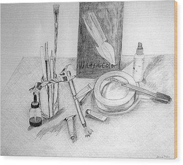 Painting Supplies Wood Print by Jamie Frier