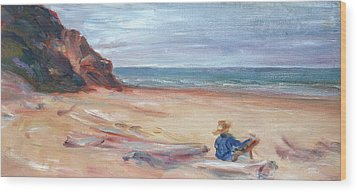 Painting The Coast - Scenic Landscape With Figure Wood Print by Quin Sweetman