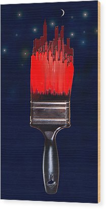 Painting The Town Red Wood Print by Jane Schnetlage