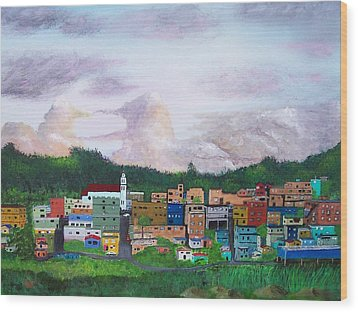 Painting The Town Wood Print by Tony Rodriguez