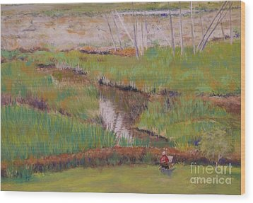 Wood Print featuring the painting Painting The Wetlands by Terri Thompson