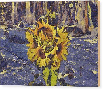 Painting With Five Sunflowers Wood Print