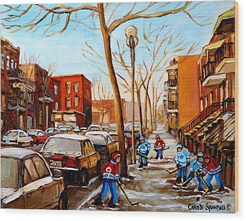 Paintings Of Verdun Streets In Winter Hockey Game Near Row Houses Montreal City Scenes Wood Print by Carole Spandau
