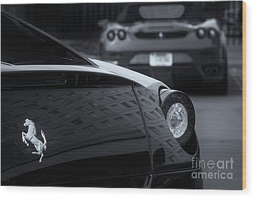 Wood Print featuring the photograph Pair Of Ferraris 2 by Dennis Hedberg