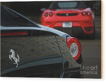 Wood Print featuring the photograph Pair Of Ferraris by Dennis Hedberg