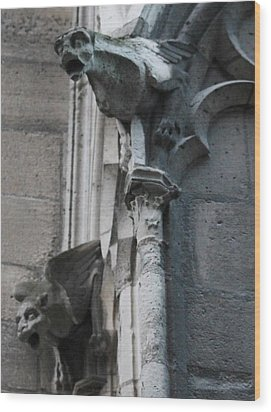Wood Print featuring the photograph Pair Of Griffons Of Notre Dame by Christopher Kirby