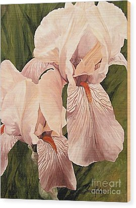 Wood Print featuring the painting Pair Of Peach Iris  by Laurie Rohner
