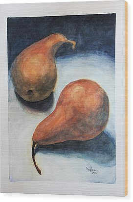 Wood Print featuring the painting Pair Of Pears by Rachel Hames