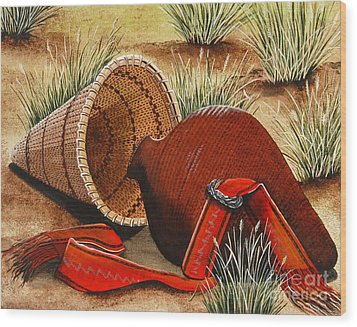Wood Print featuring the painting Paiute Baskets by Jennifer Lake