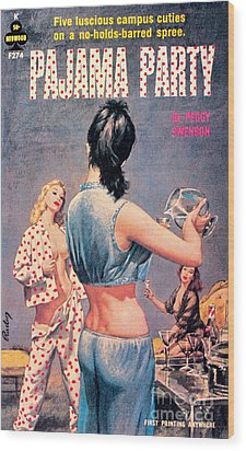 Wood Print featuring the painting Pajama Party by Paul Rader
