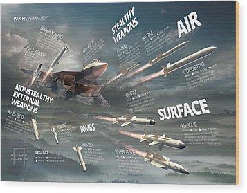 Pak Fa Armament Infographic Wood Print by Anton Egorov