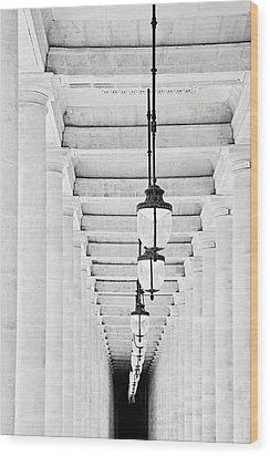 Palais-royal Arcade Black And White - Paris, France Wood Print by Melanie Alexandra Price