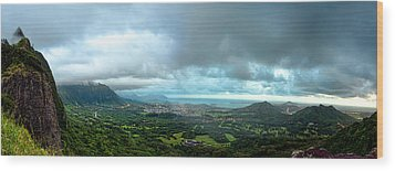 Wood Print featuring the photograph Pali Lookout Dawn by Dan McManus