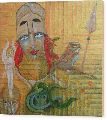 Pallas Athena Wood Print by Erika Brown
