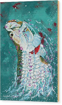 Pallet Knife Jumping Tarpon Wood Print by Kevin Brant