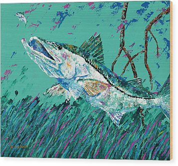 Pallet Knife Snook In The Mangroves Wood Print